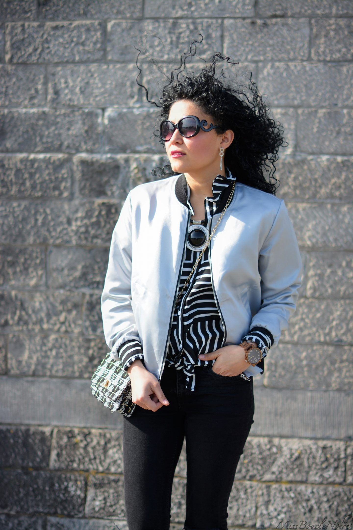 Silver bomber casual spring outfit