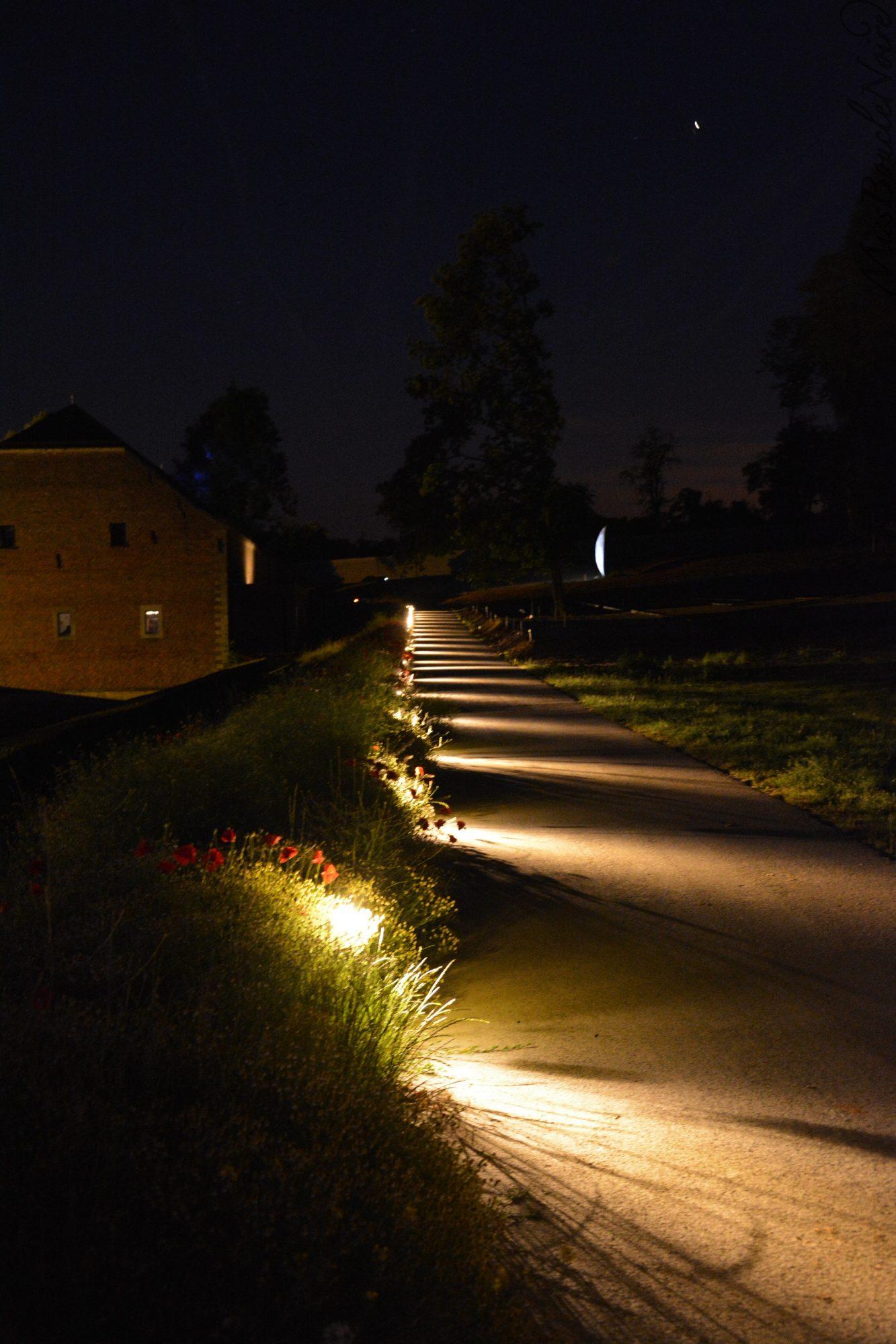 Un chemin et ses éclairage dans les jardins bordant le château de Bilzen...