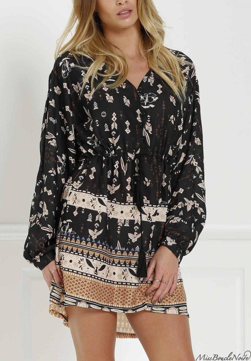 fall love dressRetro Print V Neck Long Sleeves Dress