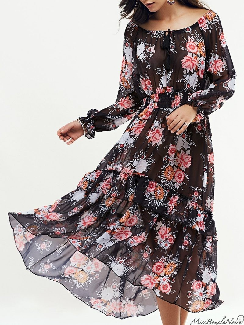 Bohemian DressLong Sleeve Swingy Maxi Dress