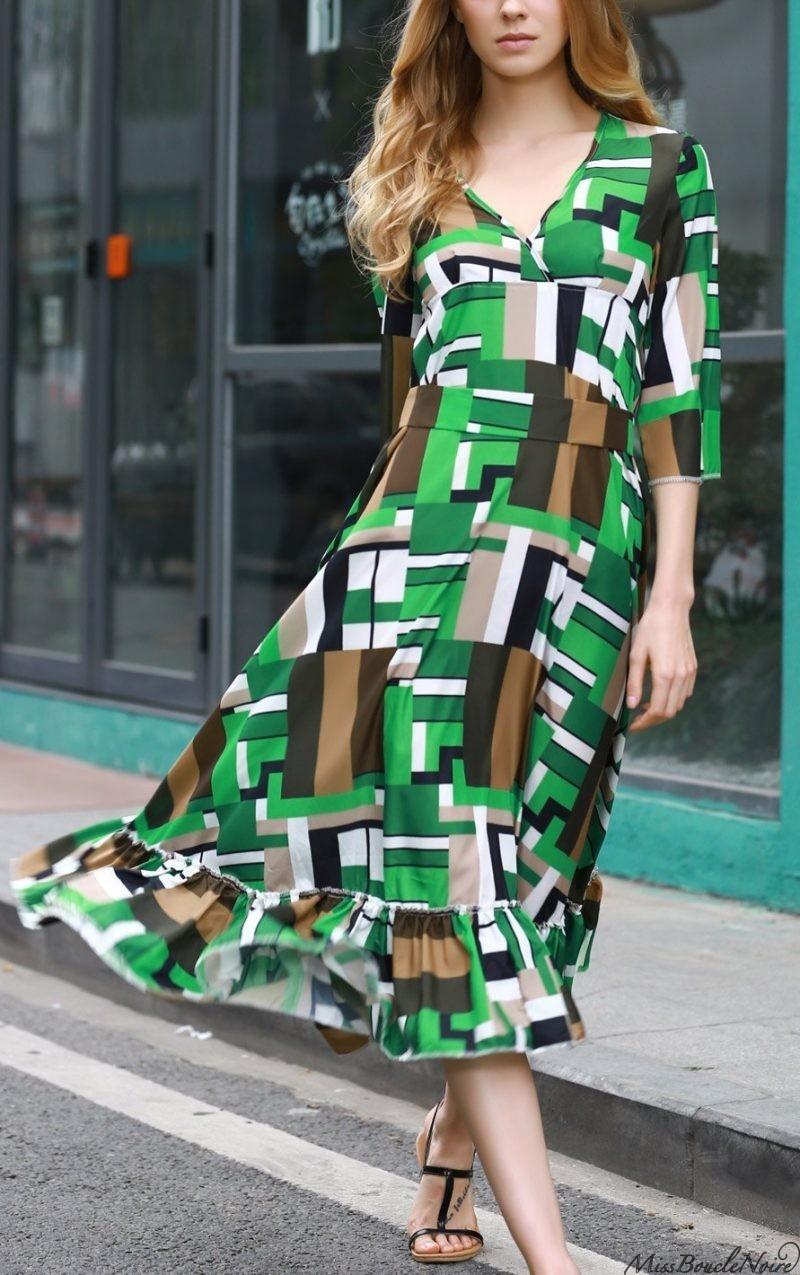 Multi Colored DressRuffle Swingy Midi Dress