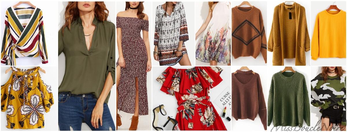 Sélection de vêtements pour la colorimétrie automne